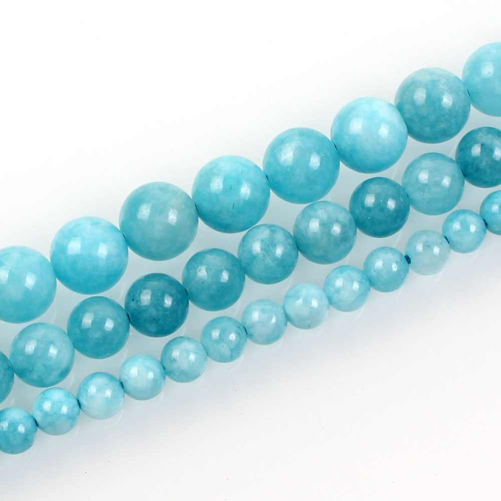 Natural Stone Beads Aquamarin Angelite Round Beaded Beads Loose Beads For Jewelry Making Bracelet Neck Material 6/8/10mm