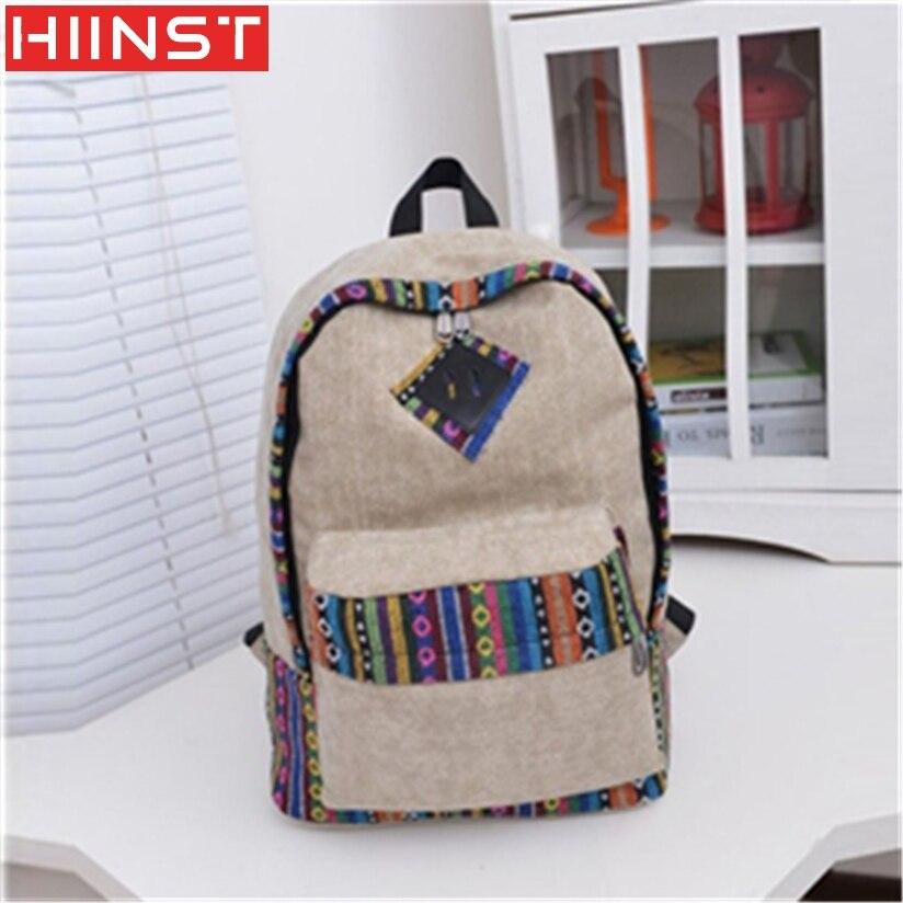 Backpack Hiinst Best Gift Wholesale Canvas Backpack Floral Stripe School Shoulder Bag Travel Rucksacks Famous Brand MAY10