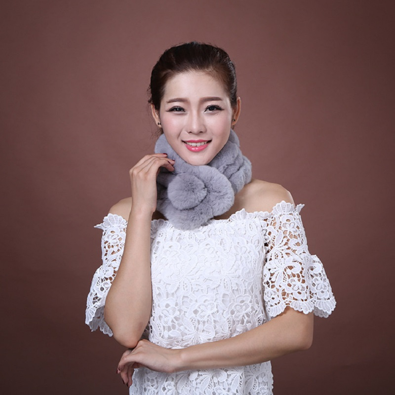 Hot New Style Real Fur   Scarf   Women Warm Winter Handmade Natural Rex Rabbit Fur   Scarves     Wraps   Female With Fur Pompom S011-grey