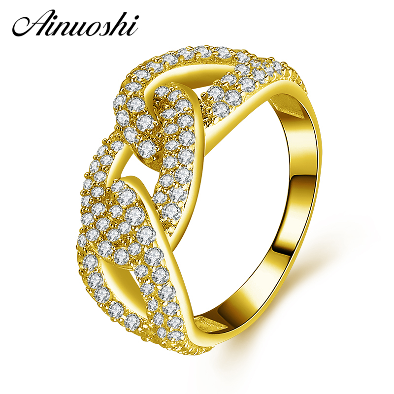 AINUOSHI 14K Solid Yellow Gold Cluster Ring Simulated Diamond CZ Twisted Chain Wide Band Wedding Engagement Half Eternity Ring