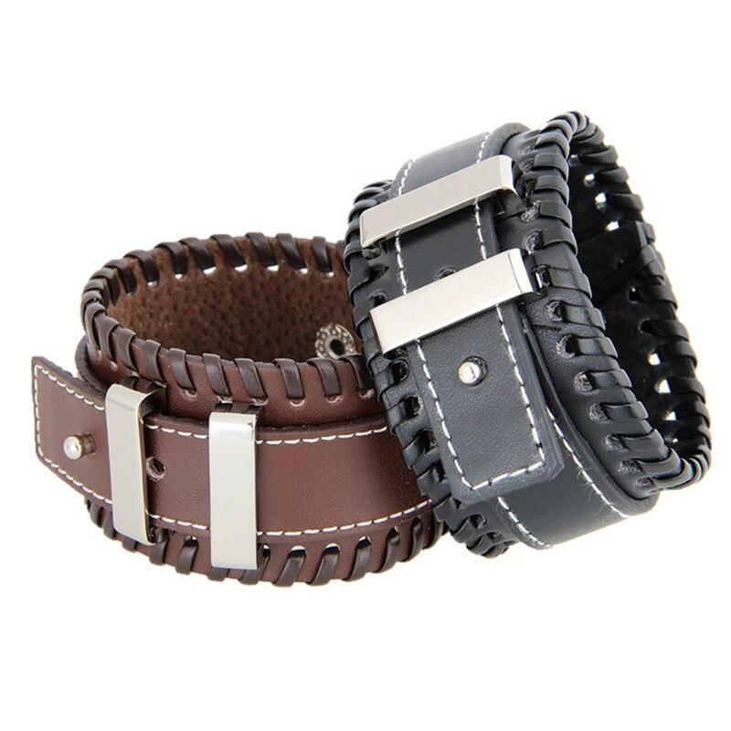 Для мужчин Винтаж широкие манжеты браслеты регулируемой пряжкой браслет панк кожаный браслет мужской Jewelry чёрный; коричневый Цвет