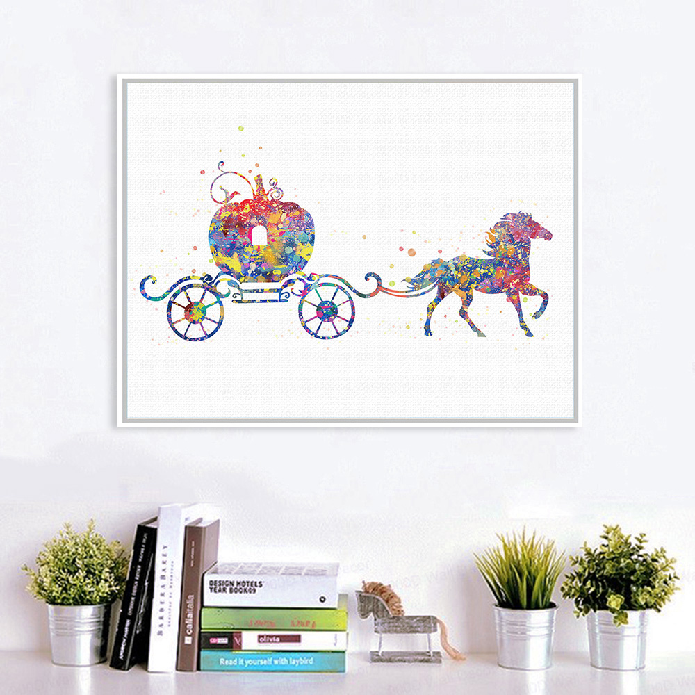 Wall Decoration Gifts : Original watercolor cinderella horse movie poster prints