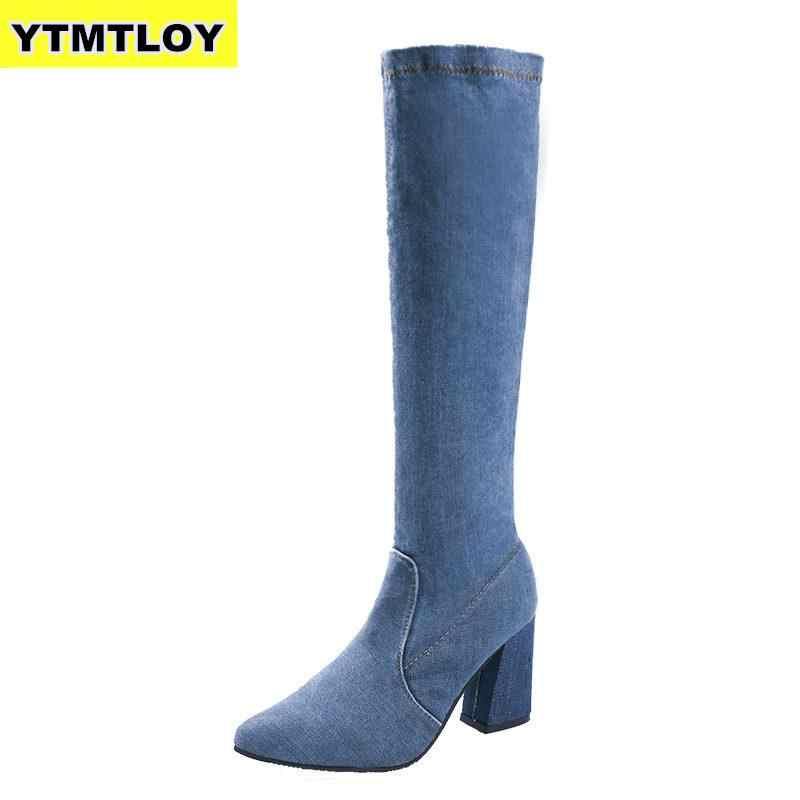 Mode femmes bottes printemps hiver sur les genoux talons qualité daim Long confort carré Botines Mujer cuisse haute Denim
