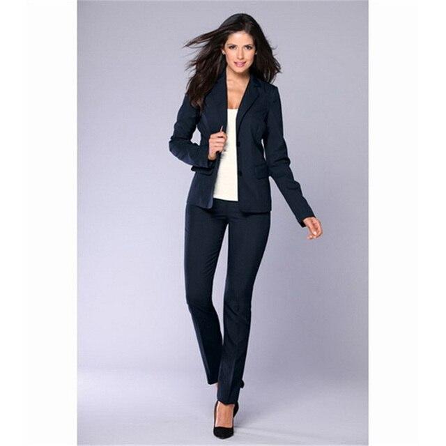 1765bc4e8 Chaqueta + Pantalones negro mujer negocios trajes Formal Oficina trajes  Trabajo Mujer pantalones traje solo pecho