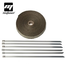 15M Titanium Motorcycle Exhaust Heat Pipe Insulation Wrap With 6 Stainless Ties