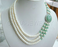 P1205 17 19 3row 8mm white freshwater pearl and jades necklace white GP clasp