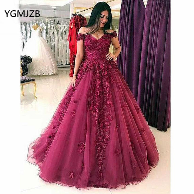 d1a3de6c92f Elegant Burgundy Evening Dress Long 2018 Off Shoulder 3D Flowers Lace  Princess Ball Gown Prom Dress Evening Gown Robe De Soiree