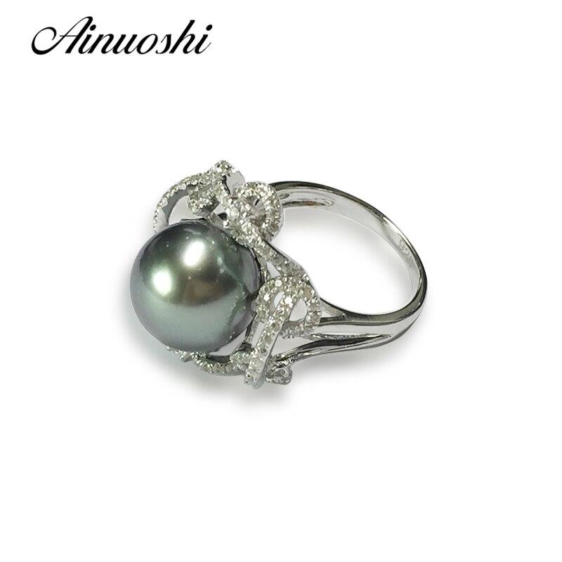 AINUOSHI Роскошные стерлингового серебра 925 Для женщин Юбилей кольцо Природный южного моря черный жемчуг Таити 10 11 мм круглый жемчуг кольцо юве