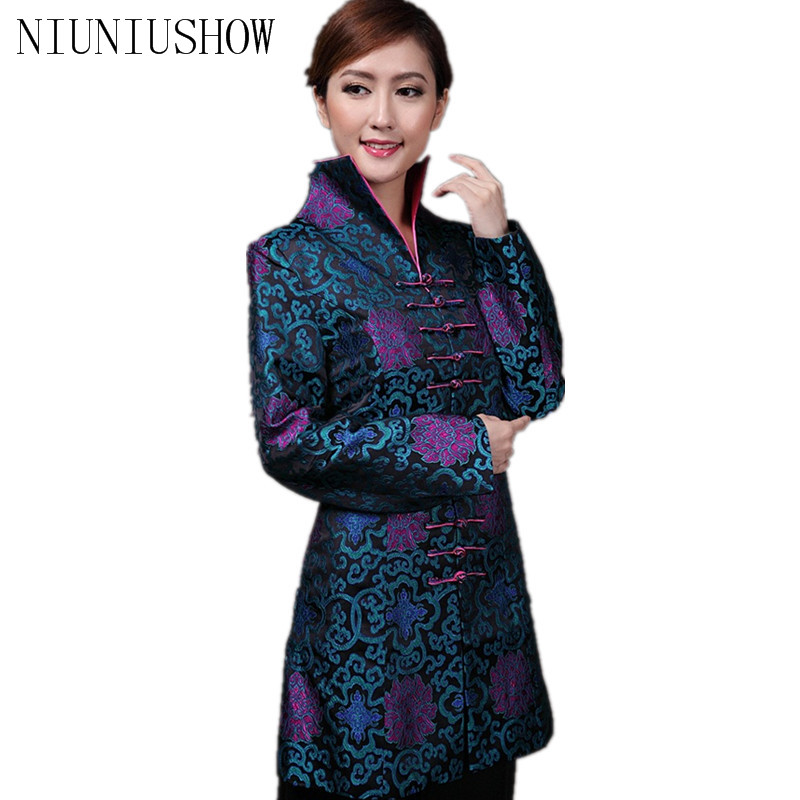 Discount Blue Chinese Women's Satin Long Jacket Classic Style V Neck Tang Suit Printing Single Breasted Coat Size S TO 4XL