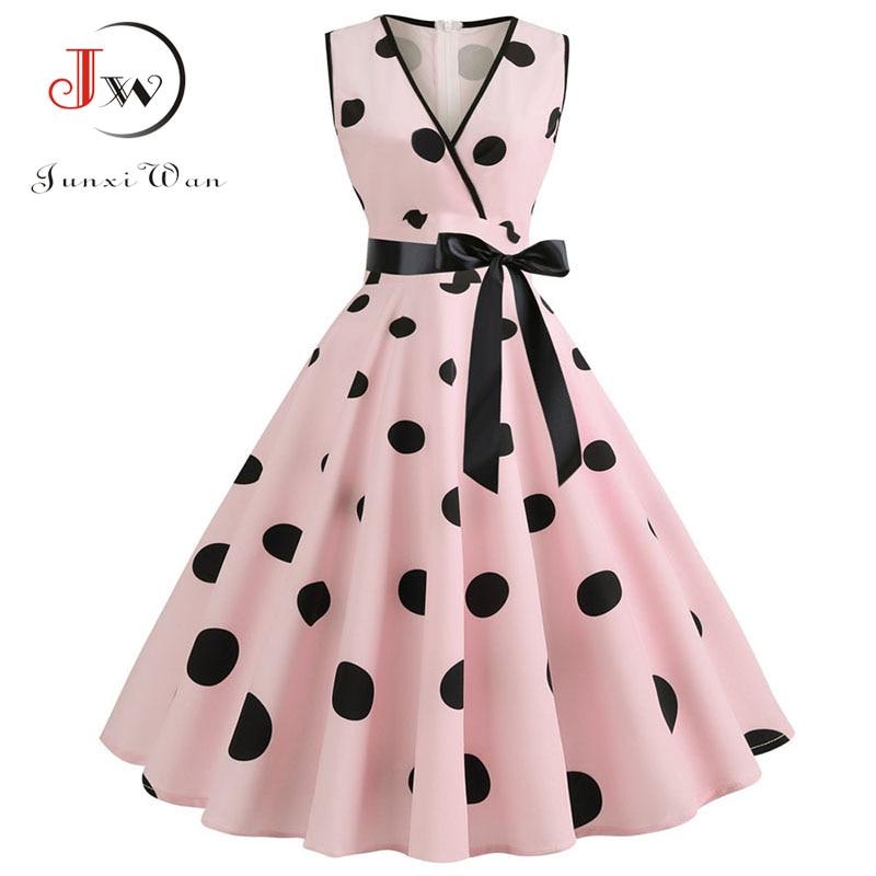 Plus Size Women Dress 2020 Summer Casual Sleeveless V Neck Print Slim Office Party Dress Dresses Elegant Vintage Vestidos Robe 5