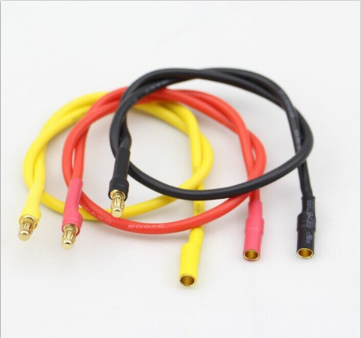 3pcs 3.5 mm GOLD Bullet Banana Câble d/'Extension Silicone Wire for RC Motor ESC