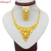 Adixyn Two Desigh India Necklace/Earrings Bride Wedding Party Gift African Jewelry Sets Gold Color Jewelry for Women GirlsN07122