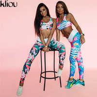 Weirdgirl Retro Digital Impressa letras treino Terno Mulheres de Treino de Fitness Definir Sutiã Esportivo Feminino Leggings Roupas femininas