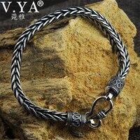 V YA 4MM 5MM Thai Silver Male Bracelets 100 925 Sterling Silver Snake Chain Bracelet For