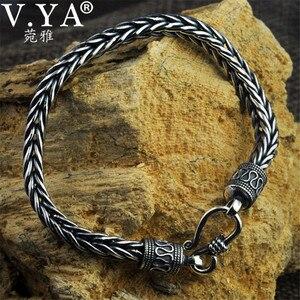 Image 2 - V.YA 4MM 5MM Thai Silver Male Bracelets 100% 925 Sterling Silver Snake Chain Bracelet for Men Vintage Style Fine Jewelry