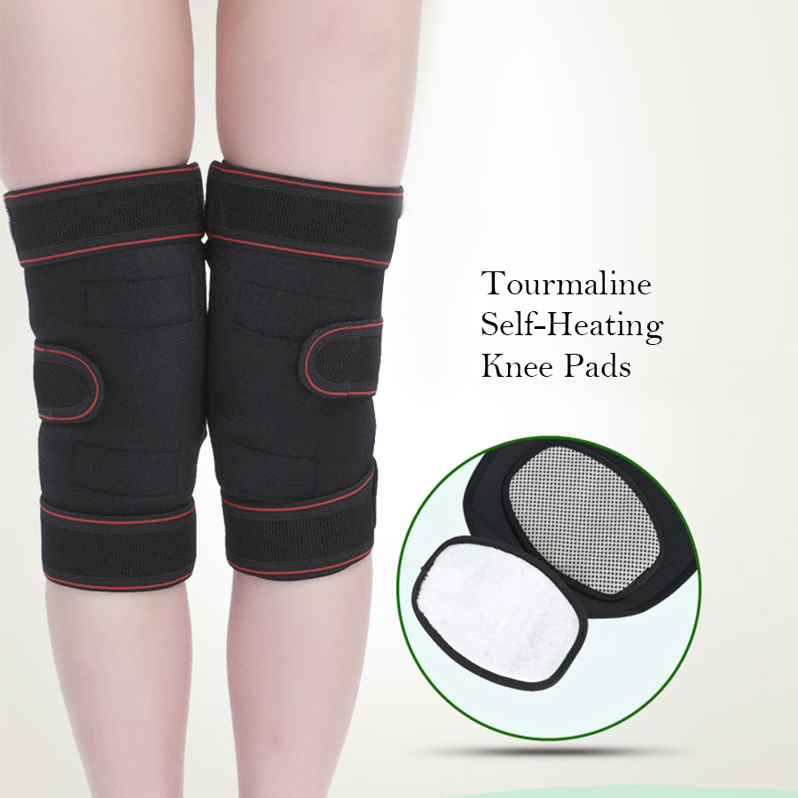 High quality Tourmaline Self-Heating Knee Pads Far Infrared Magnetic Therapy pain relief Knee Support Brace Wrap Knee Protector 1pair tourmaline self heating knee leggings brace support magnetic therapy knee pads adjustable knee massager health care