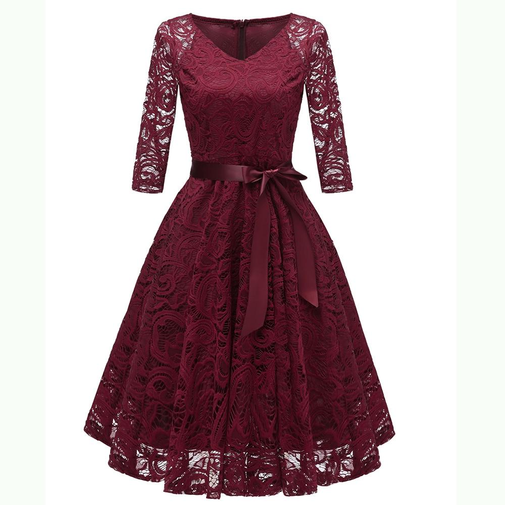 Dower Me Elegant Lace Dress V Neck Half Sleeves Sashes A-line Grey Vestidos Wedding Party Summer Burgundy Dresses 2018 Vintage