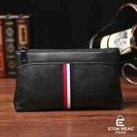 ETONWEAG New 2017 Men Brands Cow Leather Brown Zipper Mini Fashion Organizer Wallets Luxury Clutch Casual