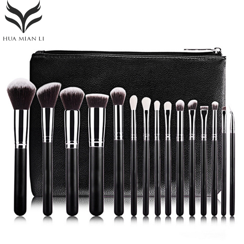 New Professional 15 PCS Makeup Brushes Set Tools Make up Toiletry Kit Make Up Brush Set Case Cosmetic Foundation Brush