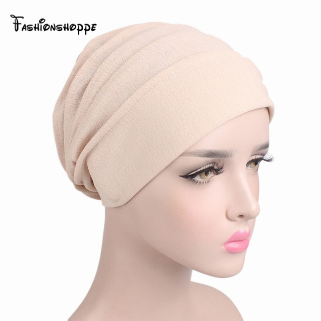 af0c4a39dae36 2017 NEW Women Slouchy Snood Beanie ruffle turban Muslim Inner Hijab baggy Hat  Cancer chemo Hats for hair loss YS231