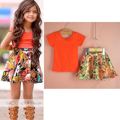 2016 Hot-Selling Summer Two-pieces Baby Girls Dress Short Sleeve Tops T-Shirt+Floral Skirt Flower Party Outfits Set 2-8Y UK