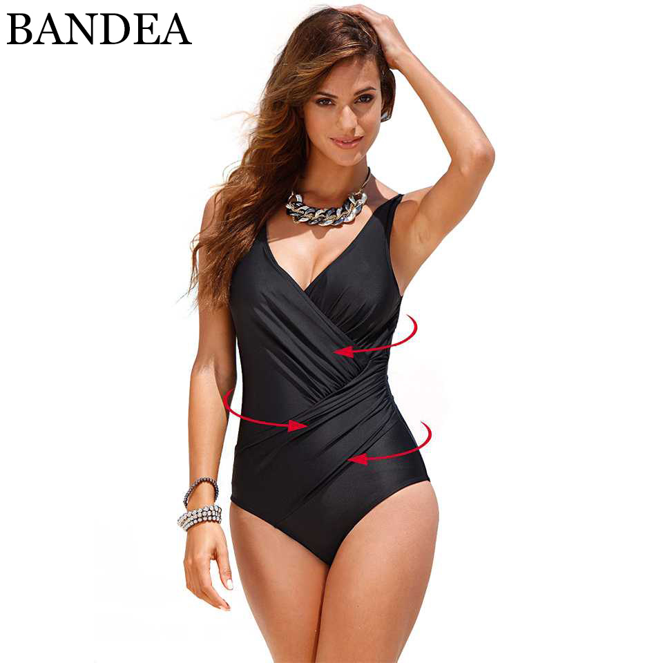 BANDEA Sexy One Piece Swimwear Slimming Retro Swimsuit Women Vintage Deep V Bathing Suit Set 2017 Plus Size Swimsuit XXXL 2017 new sexy one piece swimsuit strappy biquini high waist one piece swimwear women bodysuit plus size bathing suits monokinis