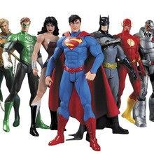 Huong Аниме Фигурка 17 см Супергерои Бэтмен Зеленый Фонарь флэш Супермен Чудо женщина ПВХ фигурки Детские игрушки куклы модель