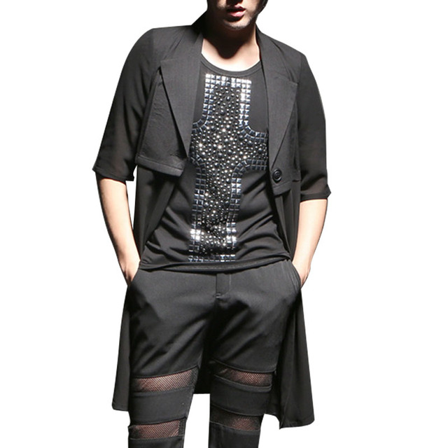 Summer New Chiffon Splice Men's Long Cardigan Trench Coat Men Slim Half Sleeve Fashion Casual Trench Jacket