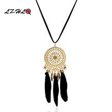 цена на 2016 Bohemian Feather Tassel Necklaces Long Women Plating Metal Hollow Pendants Sweater Rope Chain Rhinestone Jewelry Statement