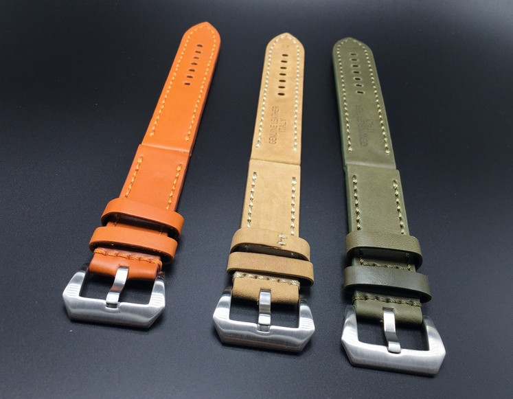 1PCS 22mm 24mm Genuine Cow Leather Watch Strap Watch Band Man Watch Straps Green Orange Beige with Stainless Steel Buckle-0104WS mr neng 20mm 22mm 24mm 26mm leather watch strap watch band man watch straps black brown green with stainless steel black buckle