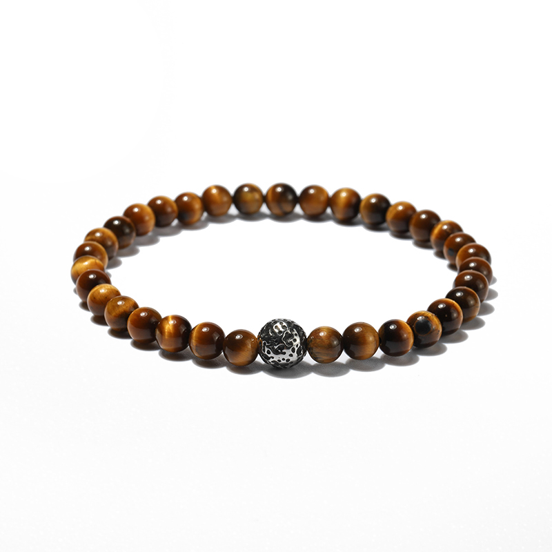 Fashion 6mm natural stone beaded men bracelets handmade tiger eye stone stainless steel bracelet jewelry gift for mens