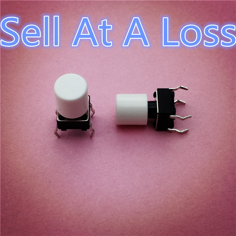 100pcs G63 High Quality White Plastic Cap Hat For 6*6mm Tactile Push Button Switch Lid Cover Sell At A Loss USA Belarus Ukraine 10pcs g101 pbs 11a 2pin red plastic 12mm push button latching switch self lock 3a 250v high quality sell at a loss usa belarus