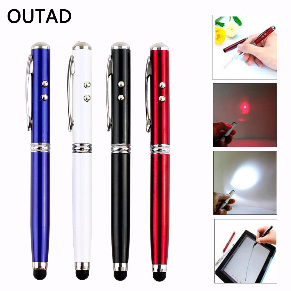 4 in 1 Laser Pointer Multifunction LED Laser Pointer Strong Compatibility Torch Touch Screen Stylus +Ballpoint Pen Outdoor Tool multi functional 4 in 1 red laser pointer led flashlight stylus pen anti dust plug 3 x lr41