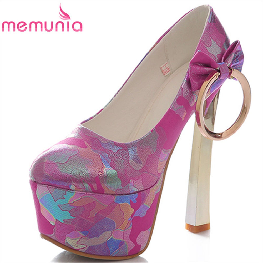 MEMUNIA lady pumps women shoes spring autumn summer wedding shoes high quality dashion platform metal decorayion dance shoes memunia  wedges platform shoes spring