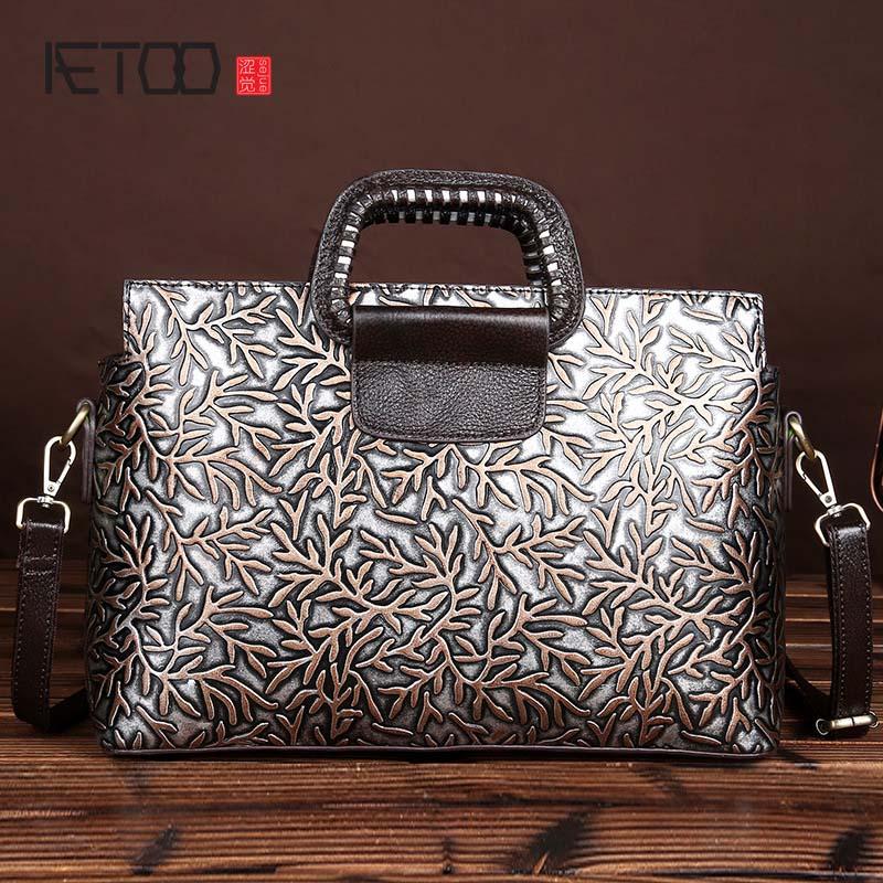 AETOO brand The new retro fashion handmade <font><b>eraser</b></font> embossed leather handbag Messenger bag shoulder bag fashion leather bag women