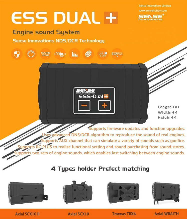 NEW Dual speakers SENSE INNOVATIONS ESS-DUAL+ ENGINE SOUND SYSTEM Real Engine Sound Simulator for scx10 trx-4 Crawler RC Car 3s 30a max li ion lithium battery 12 6v 18650 charger protection board pcb bms batteries protecting module