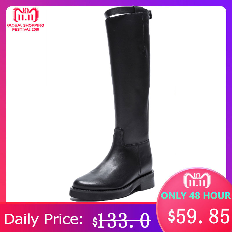 MORAZORA 2018 top quality genuine leather knee high boots women round toe square heels autumn boots zipper fashion shoes woman
