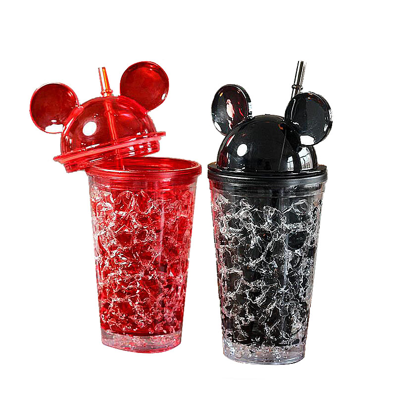 450ml Cool Summer Mickey Ice Crack Straws Smoothie Maker Cup Small Frozen Plastic Milkshake Smoothie Cups Iced Drinks Mug