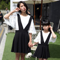 Family clothing matching mother daughter dresses family look clothes for mom and me princess lace blouse Tee +overall dress set