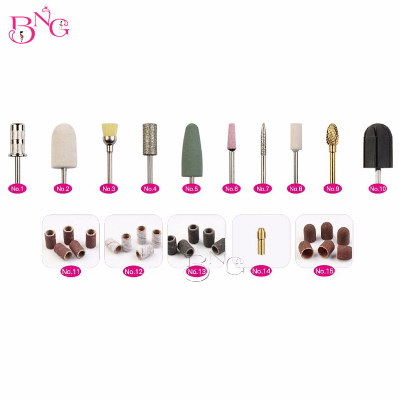 BNG 32pcs Pedicure Nail Drill Bits Multi Utili Manicure Electric Nail Files Cutte Machine Nail Art Tools Callus Polishing Kit electric nail drill machine manicure pedicure portable nail art tools strong polishing machine cutter drill file bits set nails