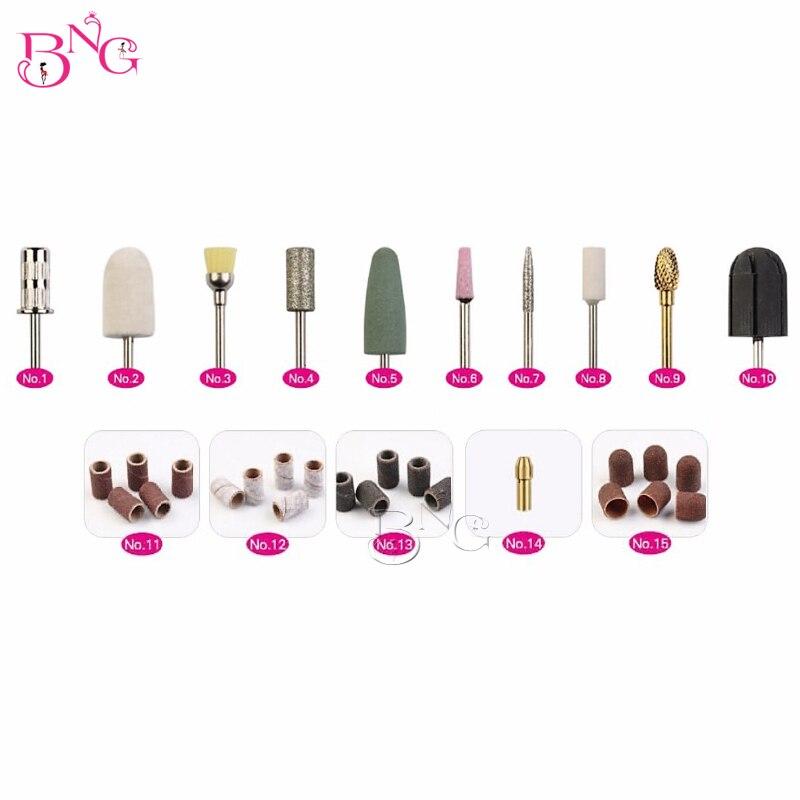 BNG 32pcs Pedicure Nail Drill Bits Multi Utili Manicure Electric Nail Files Cutte Machine Nail Art Tools Callus Polishing Kit