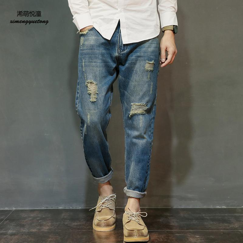 2018 spring and autumn new trend washed holes old jeans mens street wild low waist small feet jeans