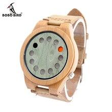 BOBO BIRD Men's Wood Bamboo Wristwatch 12 Holes Design Men Top Brand Wooden Bamboo Wrist Watches