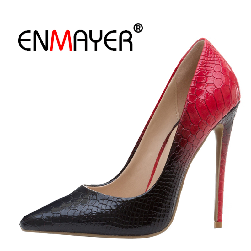 ENMAYER Women Extreme High Heels Hot Fashion Spring Pointed Toe Slip-On Office Lady Shoes high-heeled Pumps for Women CR19 enmayer high heels pointed toe spring