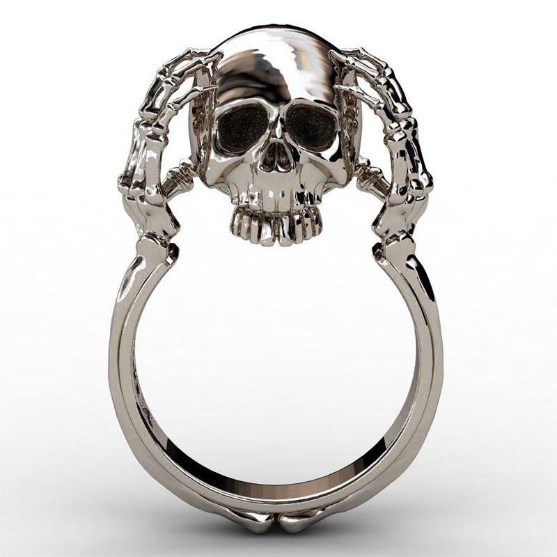 Cheap Cool Hell Death Gold Skull Ring Man&woman Never Fade Punk Biker High Quality SKull Claw Ring dropshipping
