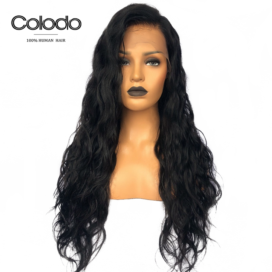 COLODO 24 Glueless Full Lace Wigs Brazilian Remy Wigs With Baby Hair 150 Density Long Wavy