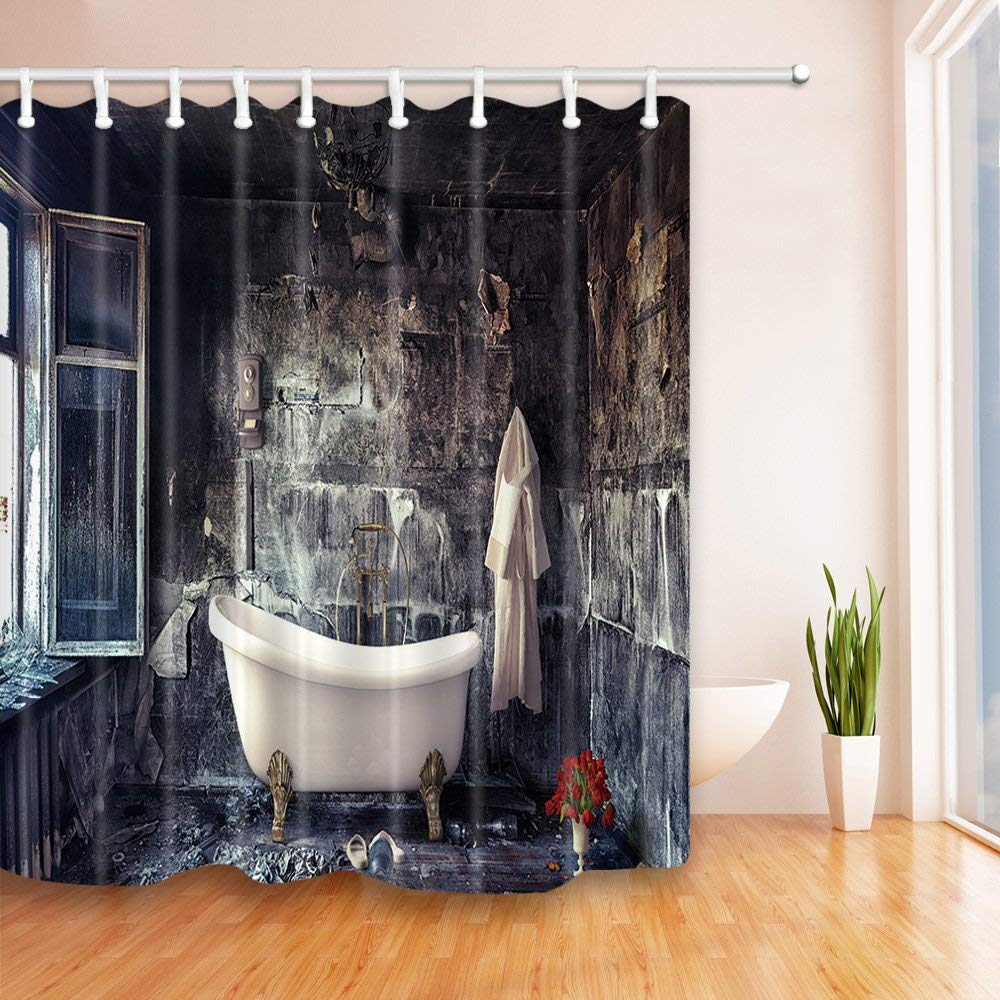 antique decor retro bathtub in old house shower curtain