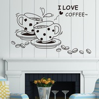 I Love Coffee Quotes Wall Stickers Romantic Coffee Cup Living Room Bedroom Vinyl Decoration Decal Adesivo De Parede Home Decor