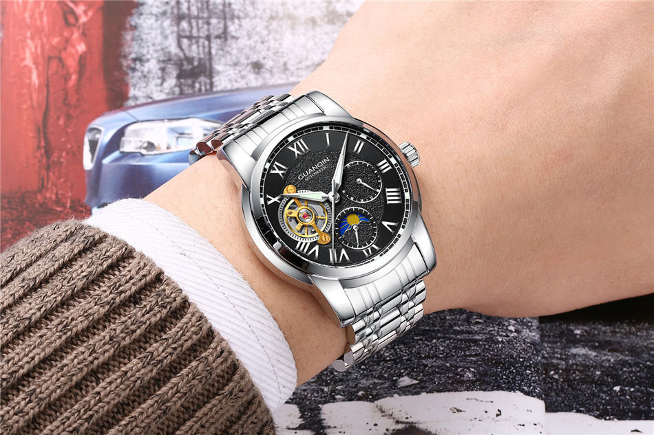 GUANQIN Top Brand Watches Mens Water Resistant Luminous Automatic Watch Skeleton Tourbillon Mechanical Wristwatches Black Clock (12)