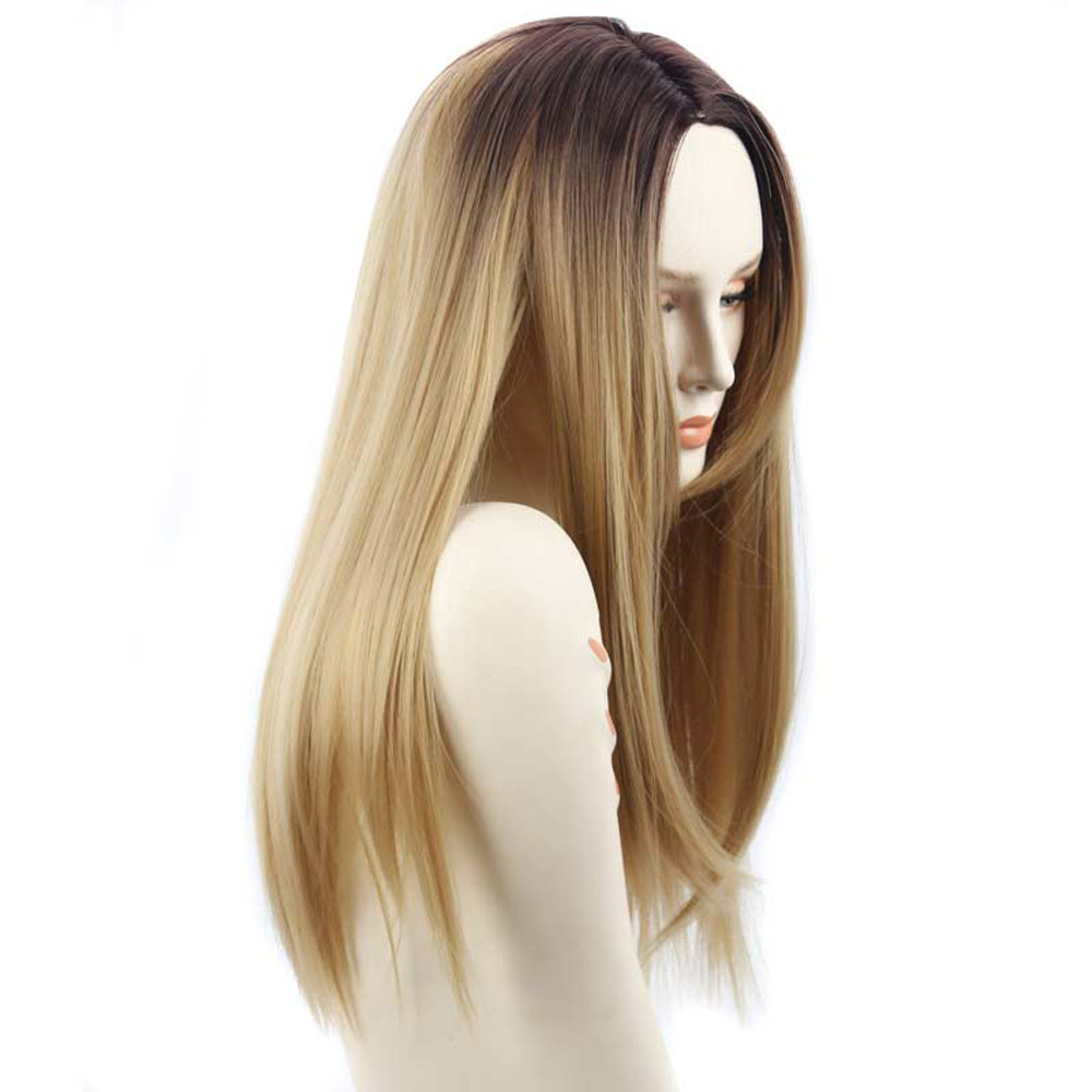 Fashion Lady Long Straight wigs Part Hair Cosplay Party Similar to full lace wigs human hair with baby hair straight 52223A